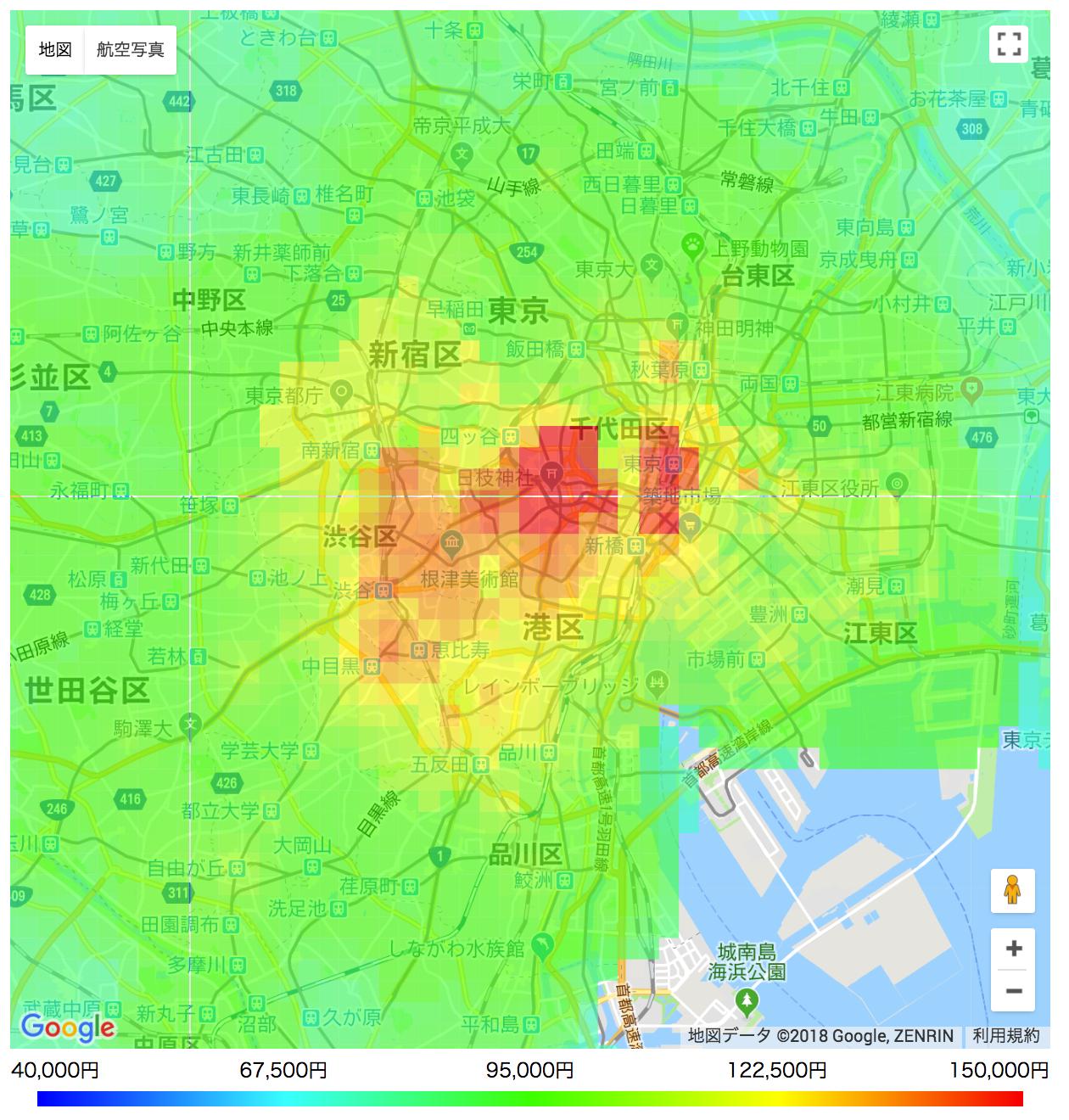 家賃相場マップ:15平米のアパート